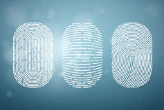 Fingerprints isolated on blue background. Vector. Illustration Stock Images