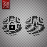 Fingerprints isolated on transparent background. Digital lock. Vector. Illustration Royalty Free Stock Photography