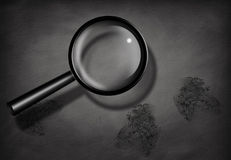 Fingerprints and Magnifying Glass. BW Fingerprints and Magnifying Glass Stock Photography
