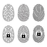 Fingerprints set. Vector Security system. Digital lock. Fingerprints set. Vector illustration. Security system Digital lock Stock Photography