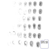 Fingerprints vector set isolated on white Stock Photo