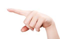fingerpunkt pekar kvinnan Fotografering för Bildbyråer