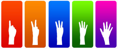 Fingers. Counting to five on colorful labels Stock Image