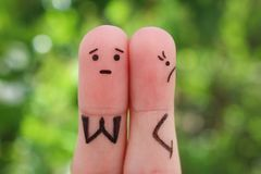 Fingers art of displeased couple. Royalty Free Stock Photography