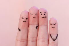 Fingers art of displeased people. stock images