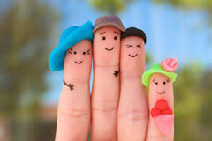 Fingers art of family on vacation. Fingers art of family. Concept of group of people on vacation Royalty Free Stock Image