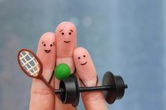 Fingers art of Happy family in sports. Fingers art of a Happy family in sports royalty free stock photo