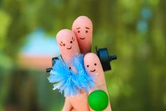 Fingers art of Happy family in sports. Fingers art of a Happy family in sports royalty free stock photography