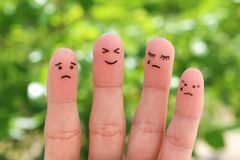 Fingers art of people. Pessimists and optimist royalty free stock image