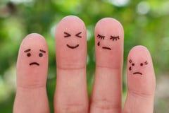 Fingers art of people, pessimists and optimist. stock image