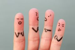 Fingers art of people during quarrel Royalty Free Stock Photo