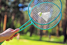 Fingers with badminton rackets Royalty Free Stock Images
