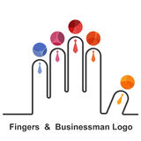 Fingers and businessman logo design .Together union symbol of f Stock Images