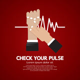 Fingers Checking Pulse Medical Concept. Vector Illustration Stock Images