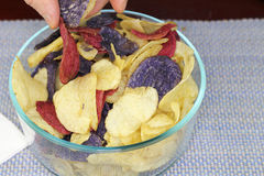 Fingers Choosing Red, Purple and Yellow Potato Chips. Adult male fingers picking up one of each of three colors of potato chips. Yellow, red and purple potato stock photography