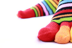 Fingers in color  socks Royalty Free Stock Image