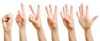 Fingers counting from zero to five Stock Images