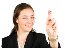 Fingers crossed! - business woman Royalty Free Stock Image