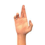 Fingers crossed, hand sign isolated on white. Background Royalty Free Stock Photography
