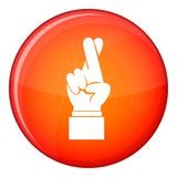 Fingers crossed icon, flat style Royalty Free Stock Image
