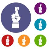 Fingers crossed icons set Royalty Free Stock Photo