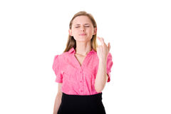 Free Fingers Crossed, Wishful Thinking, Female In Pink Royalty Free Stock Photography - 15110637