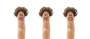 Fingers with different faces royalty free stock photo
