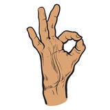 Fingers are doing OK symbol. Hand showing OK. Painted vector hand. All perfectly. Everything is fine. Good. Fingers do the ring. OK symbol.  hand. One hand Royalty Free Stock Photography