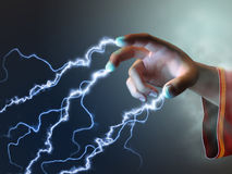 Fingers energy. Magician using its fingers to create some energy bolts. Digital illustration Royalty Free Stock Photos