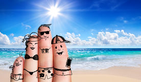 Fingers family on the beach Royalty Free Stock Photo