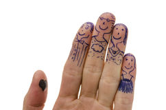 Fingers family isolated on white Stock Photos