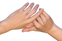 Fingers of female hands are holding each other Royalty Free Stock Photo
