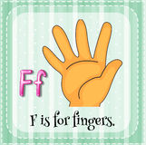Fingers. Flashcard letter F is for fingers Stock Photography
