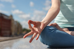 Fingers folded in a gesture of concentration Stock Image