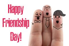 Fingers Friend isolated white background. Happy international friendship day. Fingers Friend isolated white background. Happy international friendship day stock photo