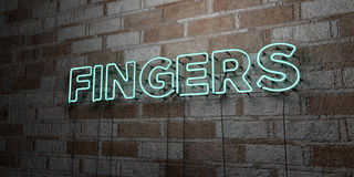 FINGERS - Glowing Neon Sign on stonework wall - 3D rendered royalty free stock illustration. Can be used for online banner ads and direct mailers Stock Image