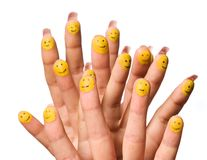 fingers group happy smiling Royaltyfria Bilder