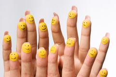 fingers group happy smiling Arkivbilder