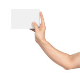 the fingers of the hand holding blank card Royalty Free Stock Images