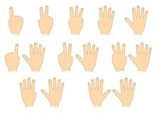 Fingers of hands. Counting, education. Set. Vector illustration Royalty Free Stock Photography