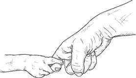 Fingers holding. Vector - Fingers holding the child and adult Stock Photos