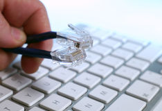 Fingers holding ethernet cables Stock Image