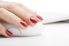 Fingers holding a mouse. Fingers with red nail holding a mouse Royalty Free Stock Images