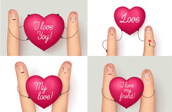 Fingers holding red love heart. Fingers holding red heart collection. Wonderful love message for a special close person. Flat style vector realistic illustration Royalty Free Stock Photos