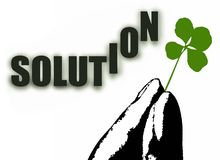 Fingers holding shamrock and Solution word. Vectorized fingers holding shamrock and the Solution word Stock Photo