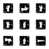 Fingers icons set, grunge style. Fingers icons set. Grunge illustration of 9 fingers vector icons for web Stock Photos
