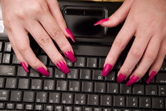 Fingers and keyboard. Woman's fingers and keyboard Royalty Free Stock Image