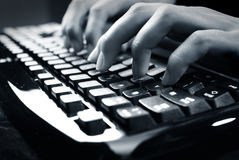 Fingers on keyboard Royalty Free Stock Image