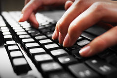 Fingers on keyboard Royalty Free Stock Images