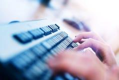Fingers on keyboard stock photos